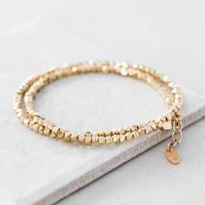 Gold Nugget Wrap Bracelet