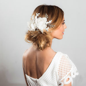 Blossom Soft Ivory Fabric Flower Headpiece - bridal hairpieces