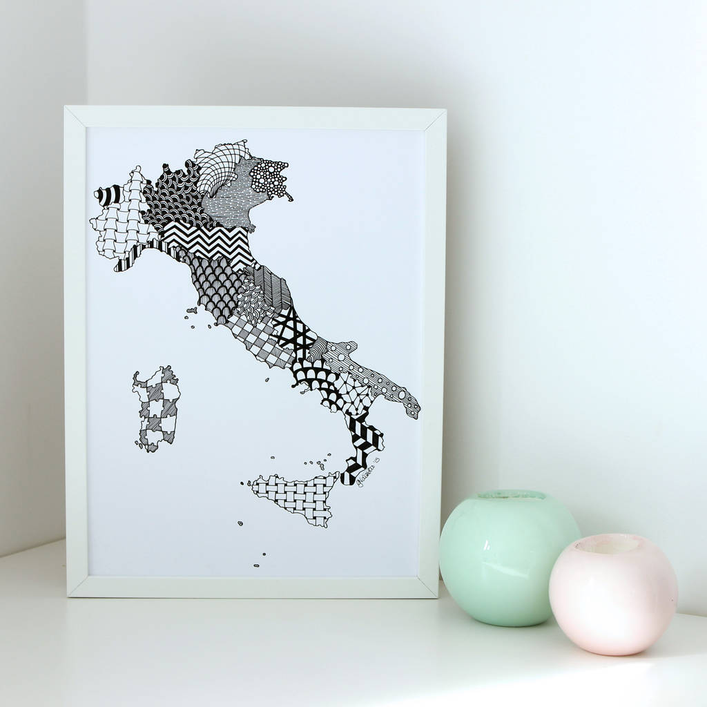 Personalised Map Of Italy Print