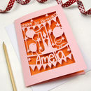 Candy Pink card with Metallic Orange Paper