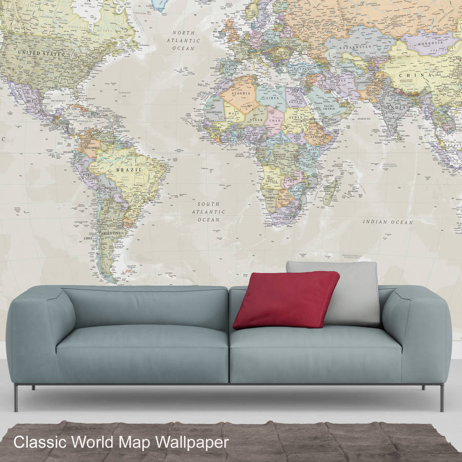 World map wallpaper by maps international notonthehighstreet world map wallpaper gumiabroncs