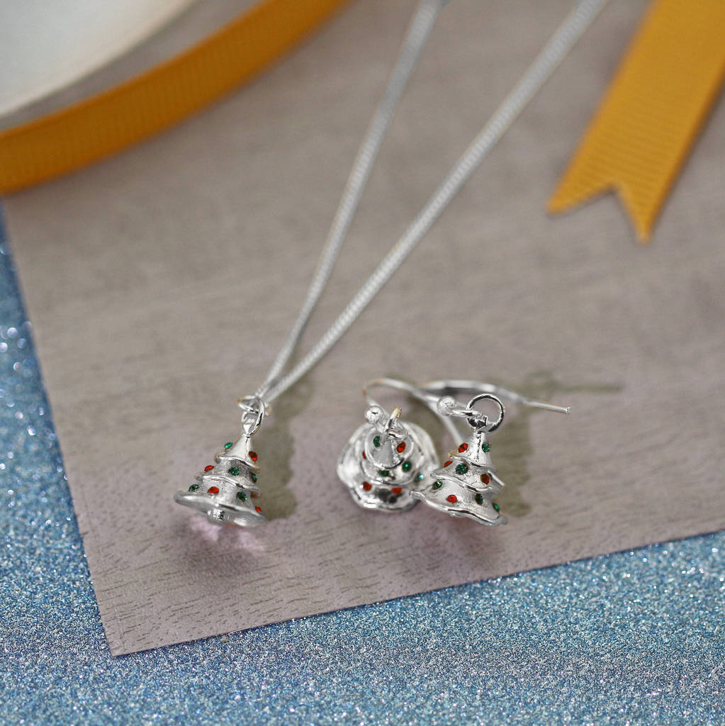 sterling silver christmas tree earrings by lushchic