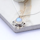 Sterling Silver Scalloped Round Moonstone Necklace