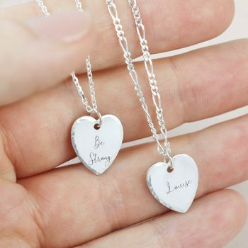 Personalised Sterling Silver Hammered Heart Necklace