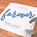 blue forever personalised wedding card