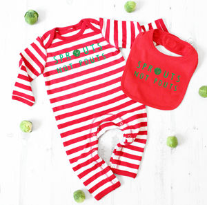'Sprouts Not Pouts' Stripy Romper And Bib