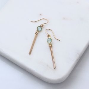 Aqua Chalcedony Gold Bar Earrings - contemporary jewellery