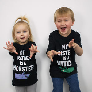 Witch And Monster Kids' Halloween T Shirt Set - summer sale