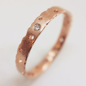 Rose Gold Diamond Ring With Patterning - engagement rings