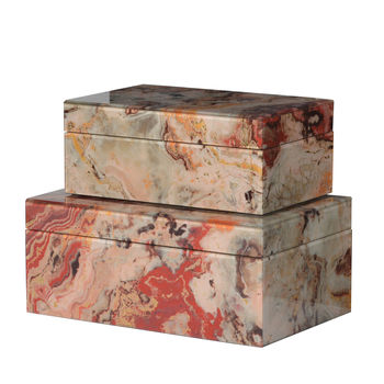 Two Marble Effect Storage Boxes