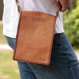 Personalised Long Mini Leather Messenger Bag