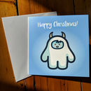 Pack Of Eight Cute Yeti Square Christmas Cards