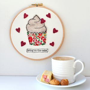 Embroidered Bring On The Cake Embroidery Hoop - food & drink prints
