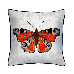 Peacock Butterfly Botanical Silk Cushion