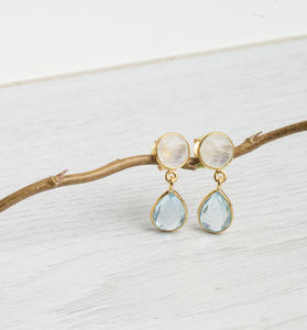 Gold, Blue Topaz And Moonstone Earrings