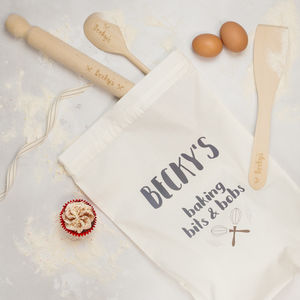 Personalised Baking Set With Bag, Whisk