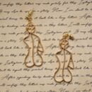 Minimal Female Form Outline Abstract Gold Earrings