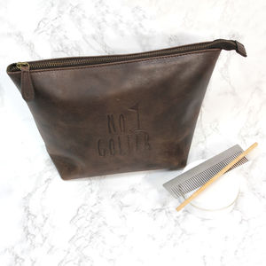No.One Golfer Brown Leather Wash Bag