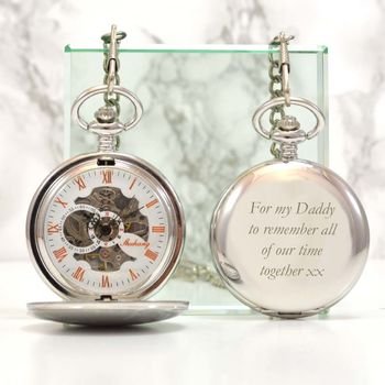Engraved Silver Pocket Watch Single Opening