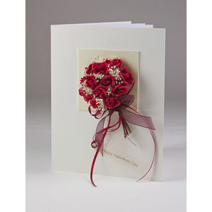 Valentine's Rose Bouquet 3 D Greetings Card - anniversary cards