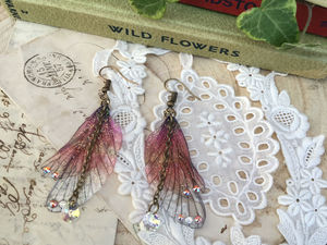 Autumnal Rainbow Fairy Wing Earrings