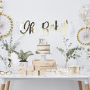Gold Foil Happy Pushing Baby Shower Cake Topper