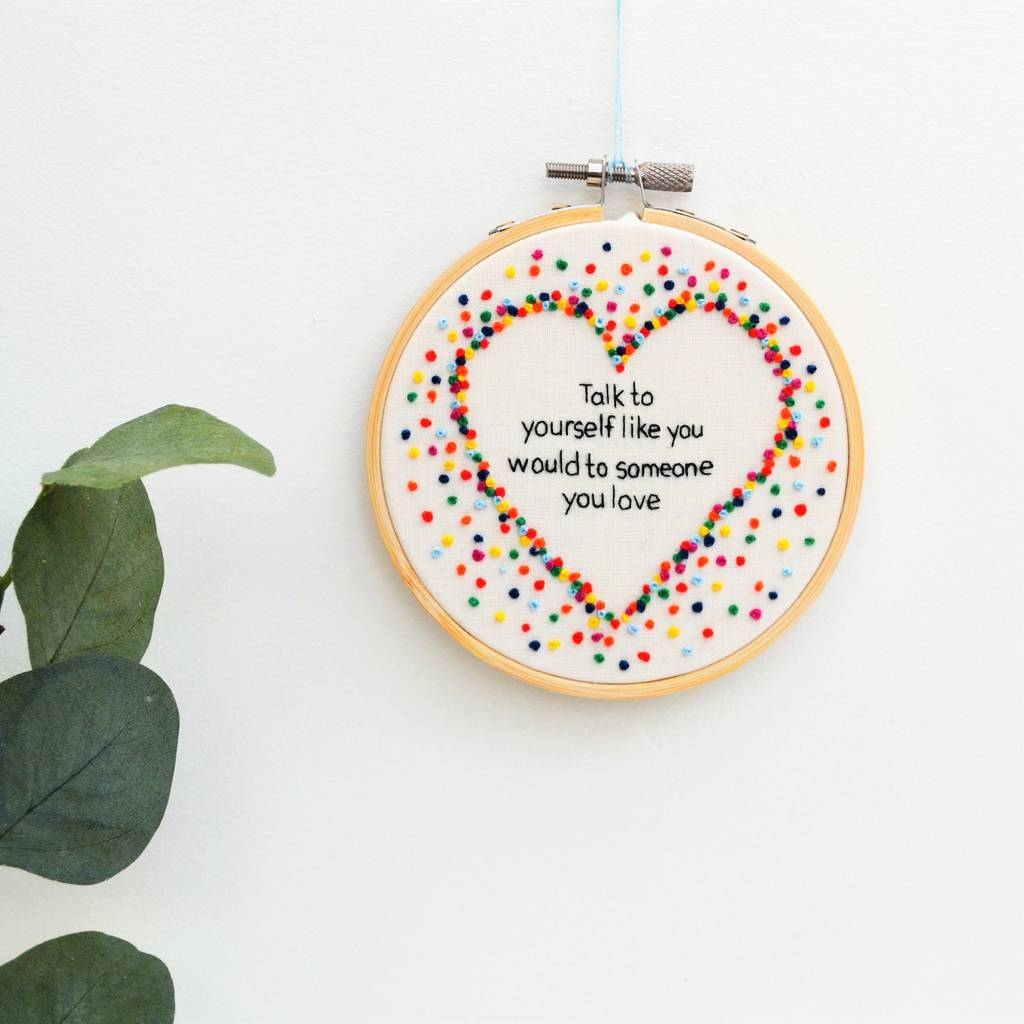 Inspirational Quote Rainbow Heart Wall Art