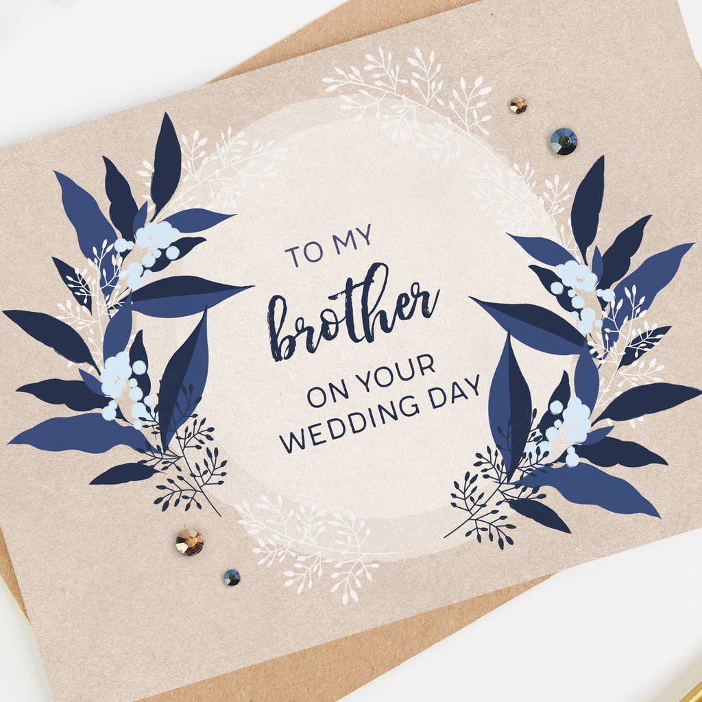 Brother Wedding Day Card Blush And Navy Floral