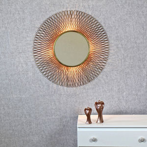 Eros Antique Copper Sunburst Rays Light Wall Mirror - wall lights