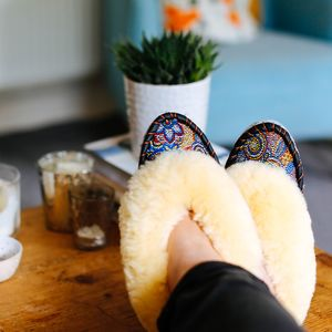 Mosaic Cream Sheepskin Slippers