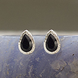 Black Spinel Silver Teardrop Stud Earrings - gemstone earrings