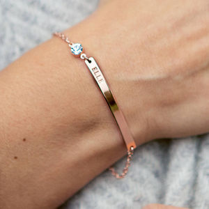 Personalised Birthstone And Bar Bracelet