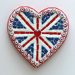 Large Union Jack Heart Mosaic Wall Art - hanging decorations