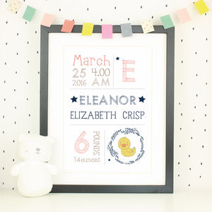 Personalised Farmyard Birth Date Nursery Print - children's room