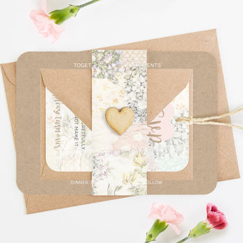 Wedding Invitation Set Kraft Floral Patchwork