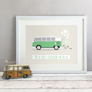 Personalised Campervan Wedding / Anniversary Gift Print