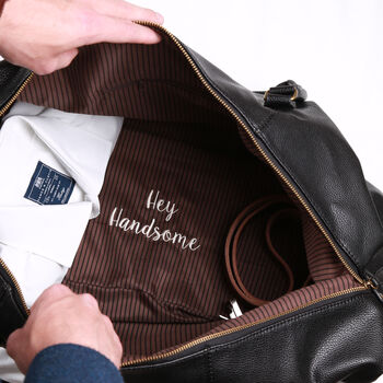 Embroidered 'Secret Message' Weekend Holdall