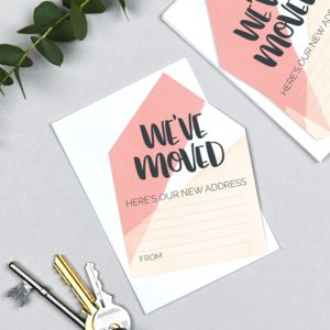 New Address Card Pack Of Six 'We've Moved'
