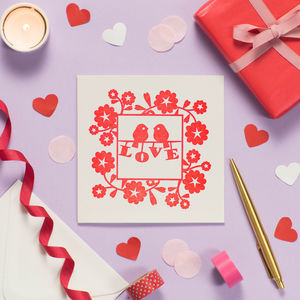 Red Lovebirds Anniversary Card
