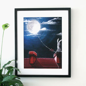 Moon Bunny Limited Edition Art Print - animals & wildlife