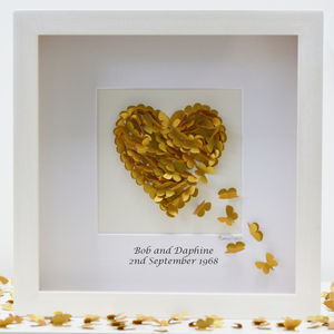 Personalised Golden Wedding Anniversary Wall Art - 50th anniversary: gold