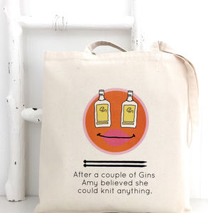 'Gin And Knitting' Personalised Knitting Tote