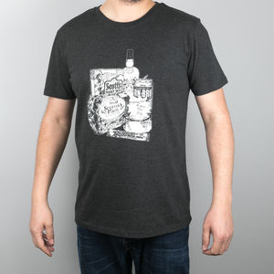 Men's 'Scottish Breakfast' T Shirt In Dark Grey - new lines added