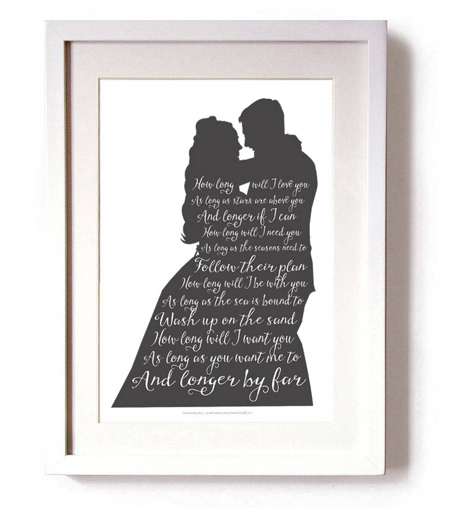 Wedding Silhouette And First Dance Lyrics By Reece Ward Prints