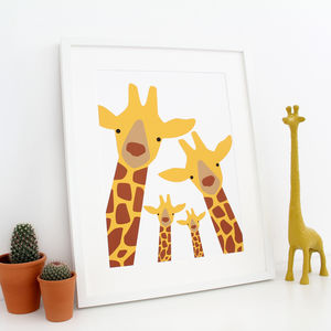 Giraffe Family Selfie Print - gifts for her sale