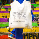Trouvaille World Tote Shopping Bag with World Map and Textile Colouring Pen Urban