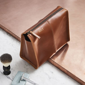 Leather Wash Bag Triangular - original gifts for him