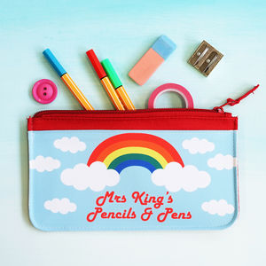 Personalised Rainbow Teacher Pencil Case - stationery sale