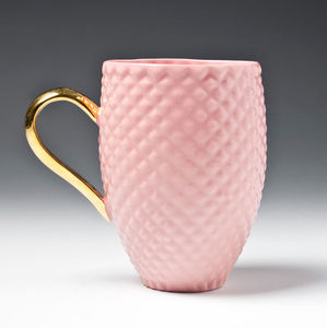 Pastel Pink Pineapple Mug With Gold Handle - crockery & chinaware