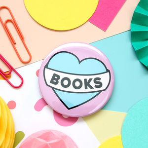 Love Books Badge, Mirror Or Key Ring - pins & brooches